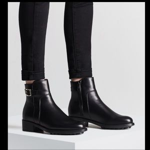 la canadienne shelby black leather ankle zip boots